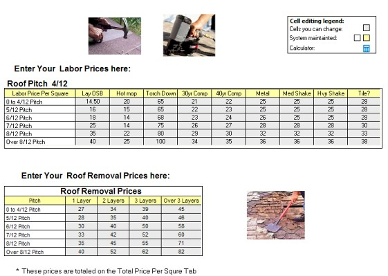 Roofing labor price per square calculator for roofing bids for Cost to roof a house calculator