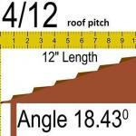 4/12 roof pitch to angle=18.43 degrees