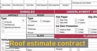 Roof estimate contract
